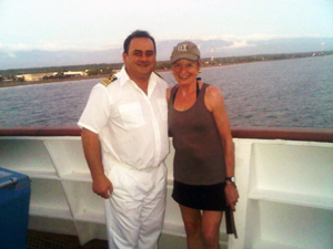 On the Silver Cloud bridge pre-sunset, 31 December, with Captain Luigi Rutigliano