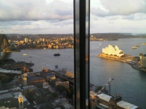 Amazing view down from Shangri-La's Altitude restaurant, from the bridge, to left, round to the Opera House
