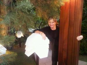 Wrapped around a lantern in Kempinski Hotel Zografski's Japanese garden in Sofia, Bulgaria