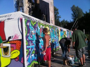 A temporary wall for graffiti artists in Sofia, Bulgaria