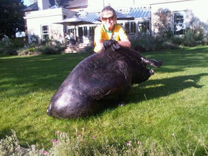 A lifesize bronze pig sits in front of The Pig shabby-chic country hotel
