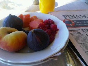 Fruits, whole and portioned at Portofino breakfast