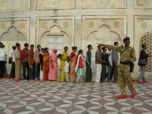 Colour in the line at the Taj Mahal, Agra