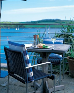 Tresanton terrace restaurant, looking out over the River Fal