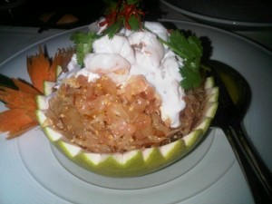 Luxury hotels and travel - Pomelo salad with prawns in coconut milk, Naam Thai restaurant
