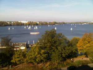Luxury hotels and travel - View of the Alster See from Hotel Atlantic Kempinski's room 420