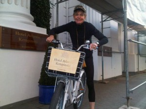 Luxury hotels and travel - Writer Mary Gostelow ready for a bike ride round the Alste