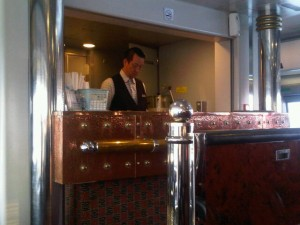 Luxury hotels and travel - Waiter at Super Class bar on the Macau Jetfoil