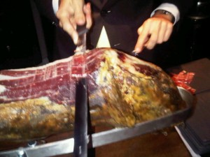 Luxury hotels and travel - Parma ham carved to order at Tosca restaurant, Ritz Carlton Hong Kong