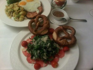 Bavarian beef salad and Bavarian meatloaf