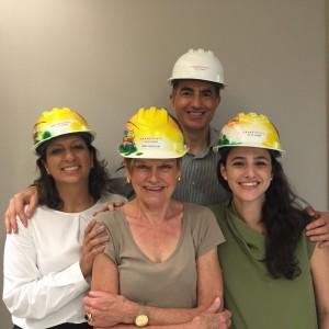 Christophe Lorvo - white hat - leads a hard-hat tour of the future Grand Hyatt Rio de Janeiro
