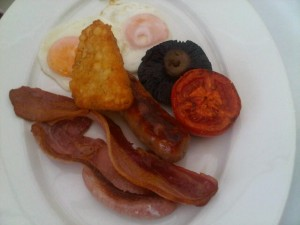 The perfect hot breakfast, brought from Chewton Glen's kitchen