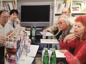Christo and Jeanne-Claude, right, with the Japanese professors