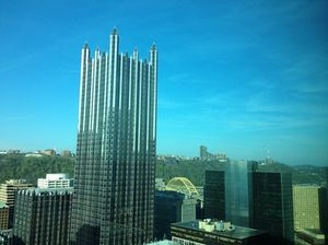 From the Fairmont, look up at the PPG Place glass tower...