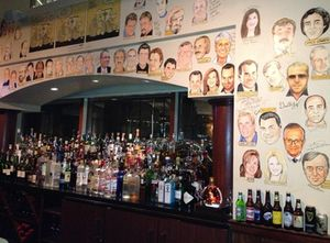 Restaurant walls are covered in caricatures