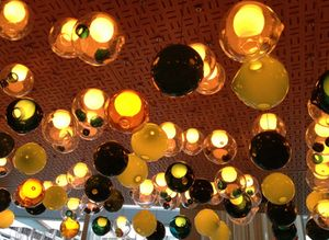 Lights above the bar counter