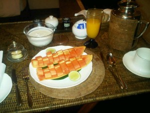 Pre-dawn room service Malay breakfast comes on a wicker-tray butler's stand