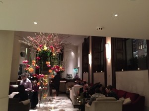 The lobby is a meeting place day, evening and night-long
