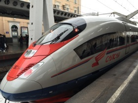 The high-speed Sapsan train engine