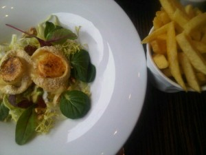 Chef Edwin's lunch salad and fries at Pearl, The Hague Hilton