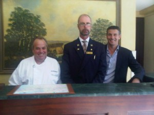 Real-life man with beard, Concierge Michael Anderson, with Culinary Director Jonathan Bruell and MD Ralf Bruegger