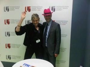ILTM's marketing guru Simon Mayle and his fuchsia hat