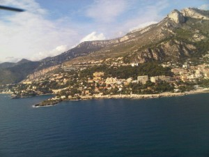 Luxury hotels and travel - View from helicopter skirting the coastline west from Monaco