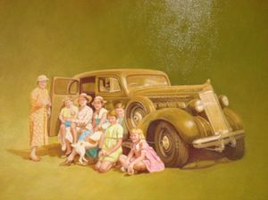 .. in front of one of the Mount Nelson's intriguing paintings