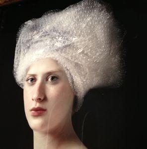 Girl in 'turban', in the lobby