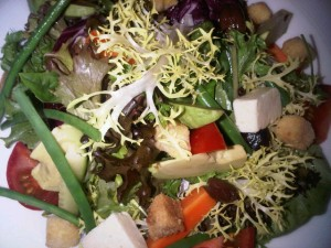 House salad, in the room (looks good enough for an Ascot hat!)