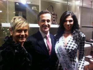 At Salvatore Ferragamo, with Lungarno CEO Valeriano Antonioli and Miss Italy, Elisa Torrini