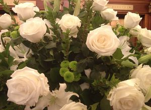 White flowers in lobby...