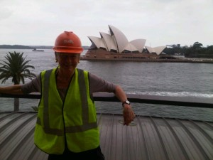 Mary about to inspect the work at Park Hyatt Sydney
