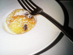 A tasting portion of bread-and-butter pudding, immortalized by Anton Mosimann back in his days at The Dorchester