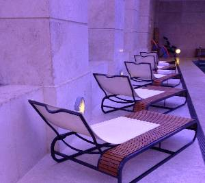 Loungers by the hotel's indoor pool...