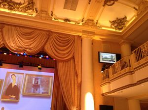 The two-floor ballroom's stage...