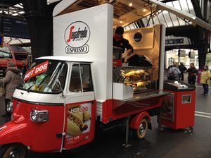 and sausage snacks at Zurich railstation