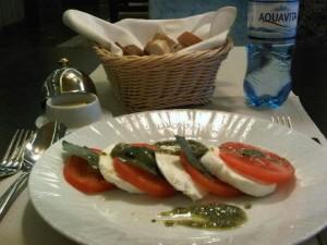Chef Salvatore Barbara, from Sicily, makes a delicious caprese (love his home-made pesto)