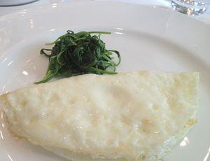 Egg-white omelette, with arugula