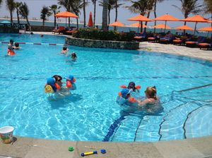 One of Palm Tree Court's kids' pools