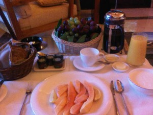 Room service breakfast, just before leaving