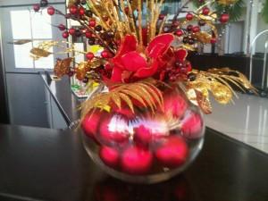 Christmas baubles at London Heathrow Hilton
