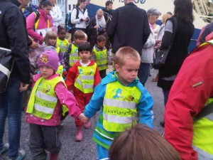 A line of kindergarten kids at Alesund