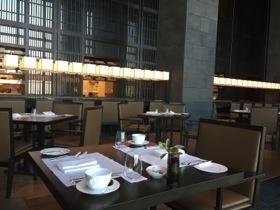 The restaurant, at breakfast