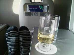 Stretching out aboard British Airways' nearly eleven-hour flight