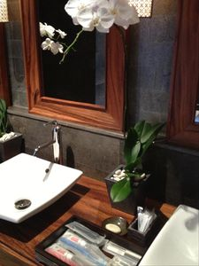 Washrooms have orchids, toothbrushes and other supplies