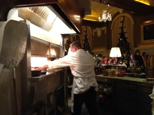 The kitchen is now right in the Oak Room….
