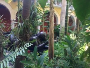 Botero statue in the indigenous courtyard garden