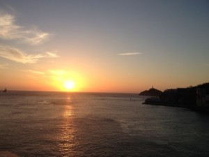Sunrise as we sail into Cartagena