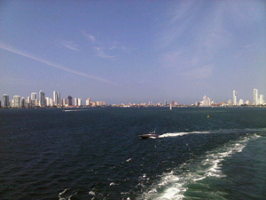 Looking back at the Cartagena skyline